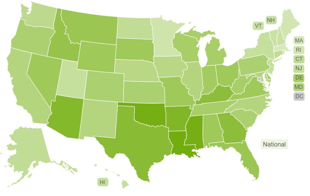 state imprisonment map